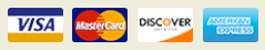 Image of Visa, Mastercard, Discover, American Express forms of payment we aslo accept