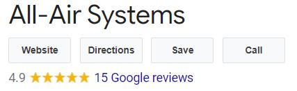 All Air Systems 5 Star Google reviews