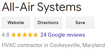 All Air Systems 5 Star Google reviews and hyperlink to Google reviews